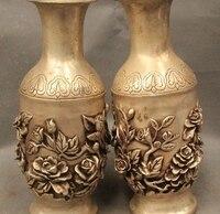 "9"" Chinese Dynasty Silver Lucky tree peony orchid butterfly Flower Bottle Vase|vase bottle|vase chinese|vase flower -"