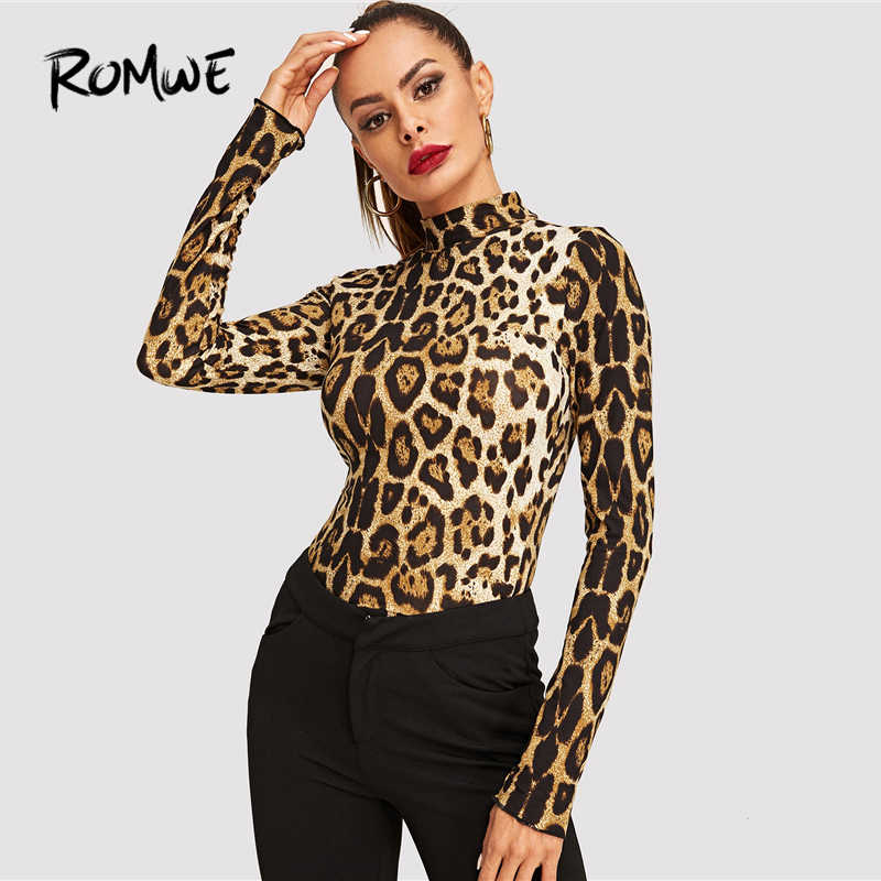 12993ca0a1105 ROMWE Leopard Print Mock Tee 2019 Sexy Stand Collar Spring T Shirt Women  Autumn Long Sleeve