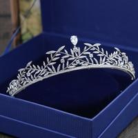 Micro Inlays Full Cubic Zirconia Leaves Brides Crown Tiaras Costum Prom Wedding Coronet Hair Jewelry Accessories Headdress Coroa