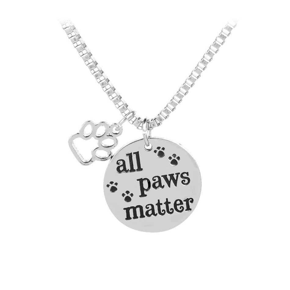 5pcs GLAM Inspirational Message All Paws Matter Antique silver Tone Pendant Charm Necklace for Dog Cat Animal Lovers Pet Rescue ...