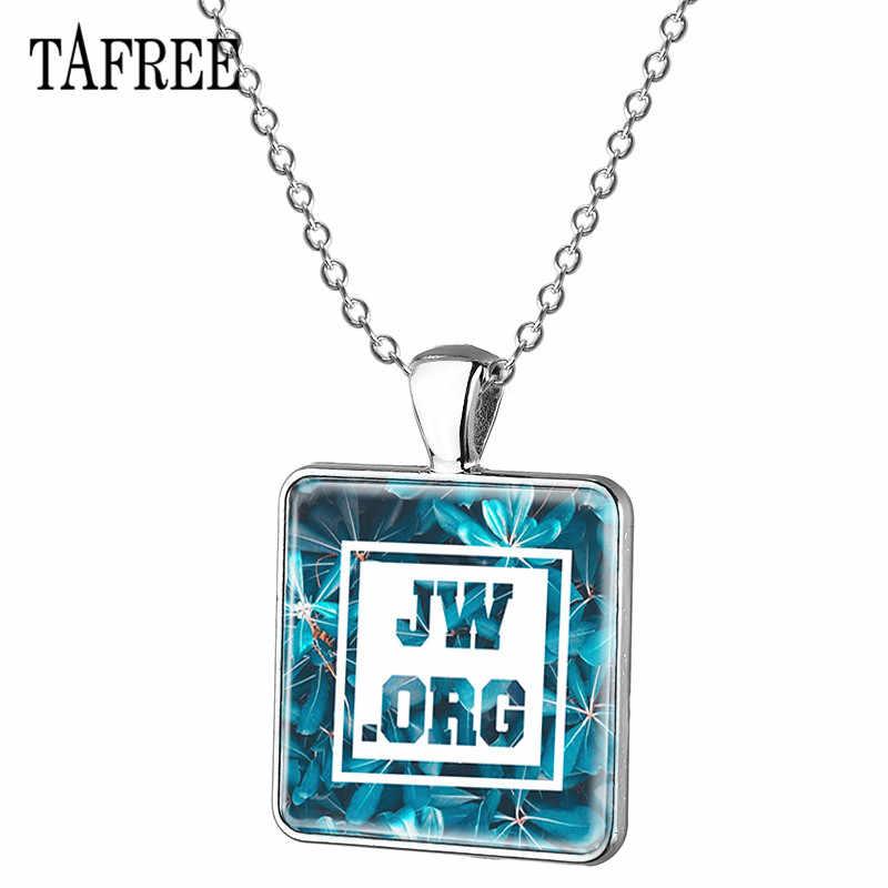 TAFREE JW. Orgcollar colgante cuadrado FORMA DE cabujón de cristal collar color plateado cadena de eslabones joyería de aleación al por mayor JW62