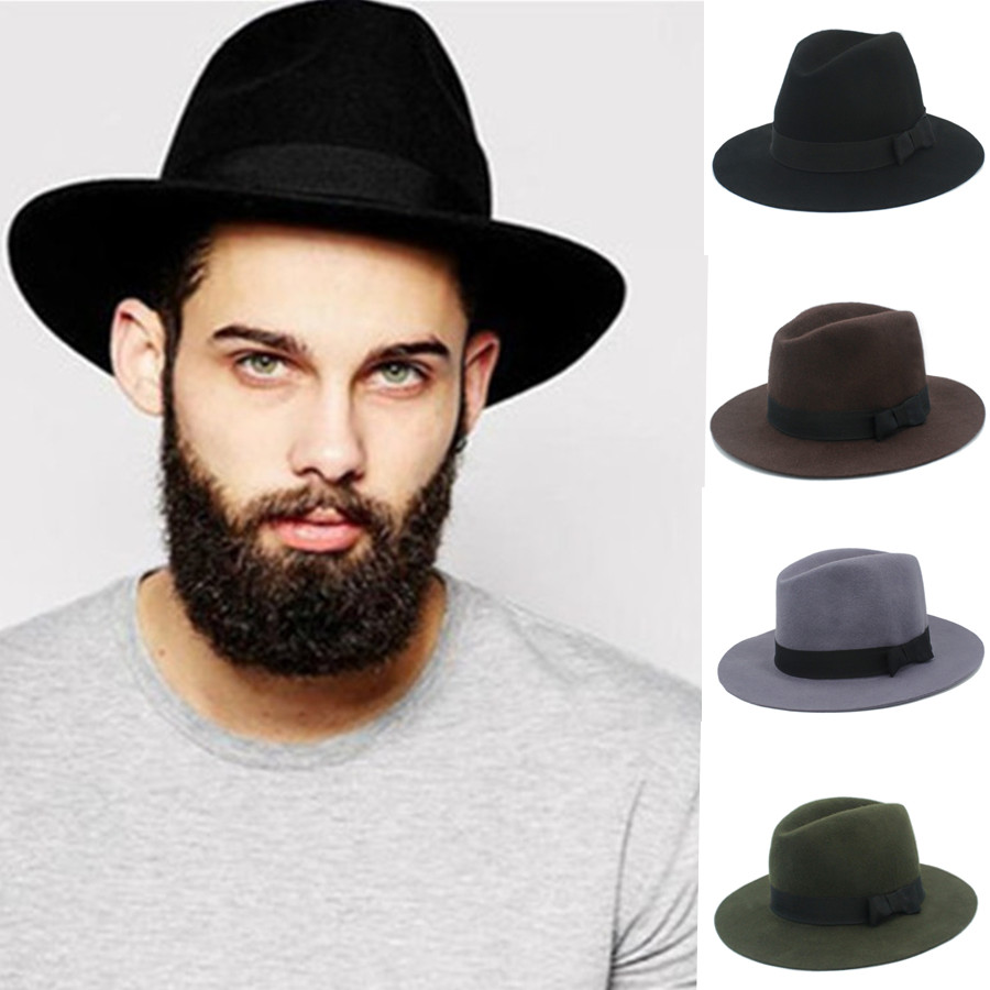 100% Australia Wool Men Floppy Felt Trilby Felt Fedora Hat For Gentleman  Top Cloche Panama Hat With Wide Brim Dad Hat 20-in Fedoras from Apparel  Accessories ... 665cce3eb9f6