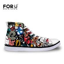FORUDESIGNS/женская Повседневная парусиновая обувь с высоким берцем; модная женская обувь с граффити; Вулканизированная обувь; классическая дышащая обувь на шнуровке