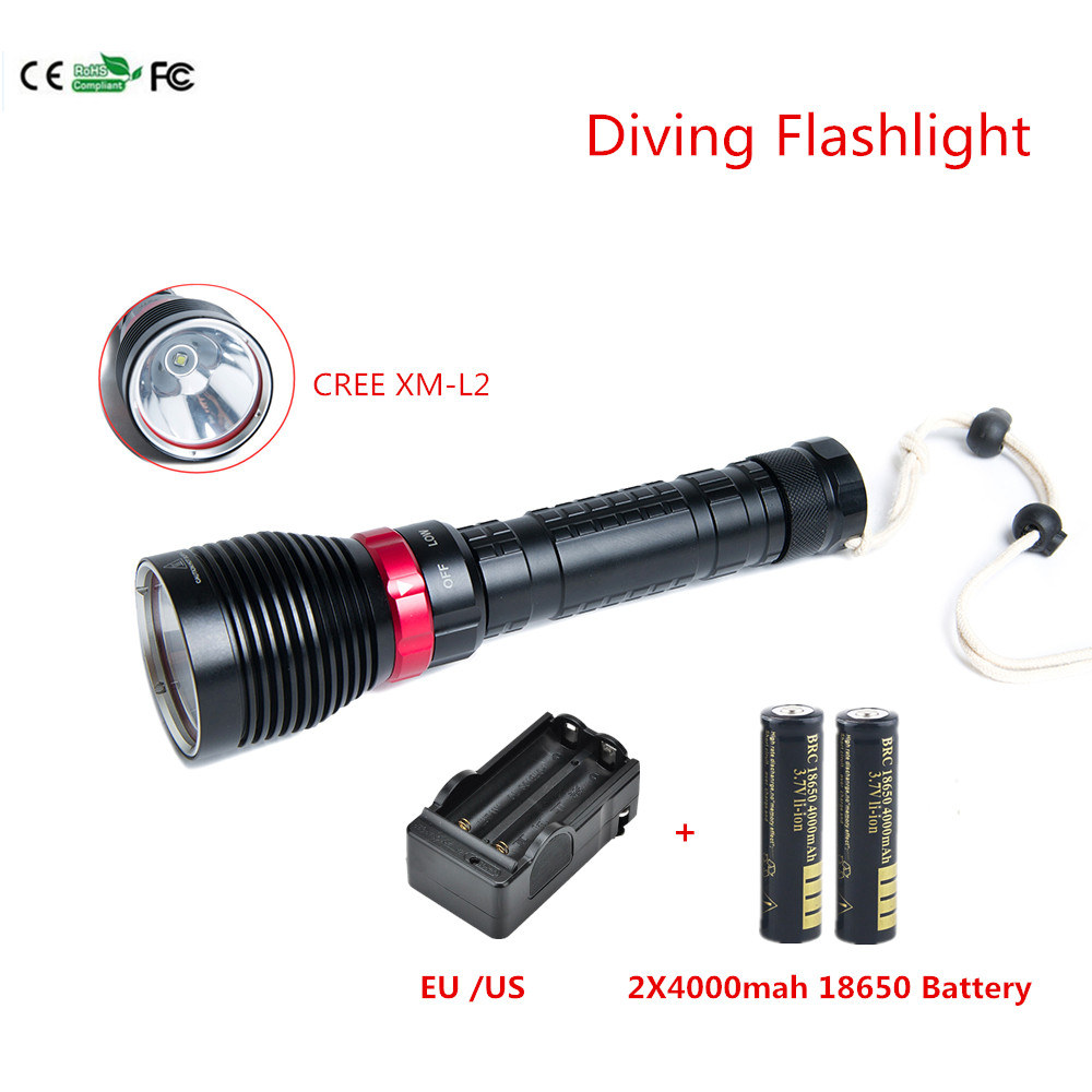 2000 Lumens Cree XM-L2 Diving Flashlight Dive Torch Underwater Light For Outdoor sports camping +18650 4000mah Battery +Charger nitecore tm06s cree xm l2 u3 led 4000 lumens led flashlight waterproof 18650 torch for gear outdoor camping search free shipping