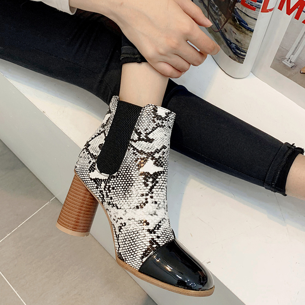 Autumn Winter Snake Prints Mixed Colors High Heels 1