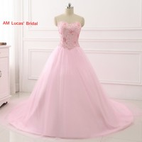 Pink 2017 Ball Gown Quinceanera Dresses Beading Rhinestones Sweet 16 Year Princess Dresses For 15 Years
