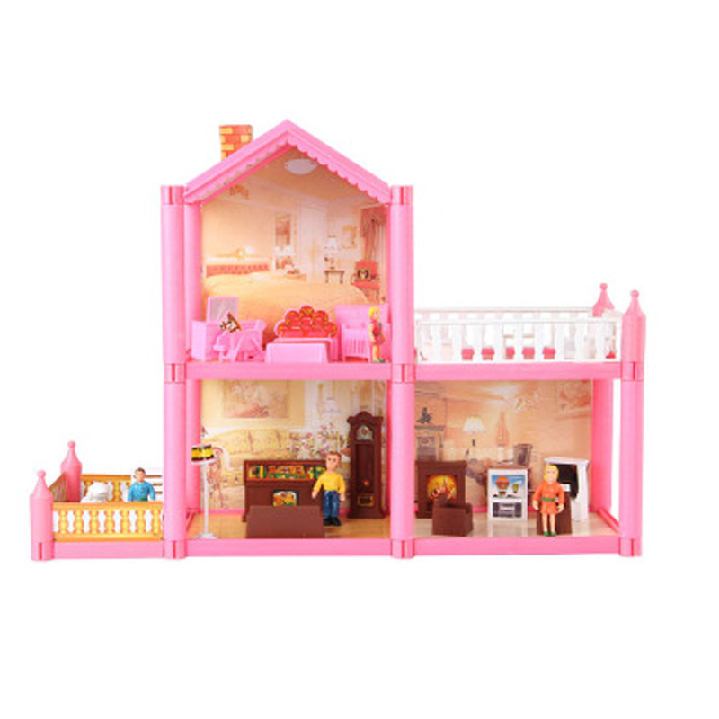 ФОТО  Kids Toys 3D Doll House Mini Simulation Villa With Characters Furnitures Assembled Villa Christmas Gifts For Children