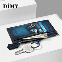 DIMY Genuine Leather Men Money Clips Letter Long Male Wallet Business Card Zipper Halloween Gift Clips Vintage Style Purses