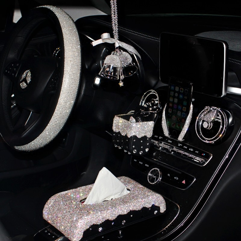 Luxury Crystal Rhinestone Car Tissue Paper Box Interior Decoration Steering Wheel Cover Car Phone Holder Bling Car Accessories