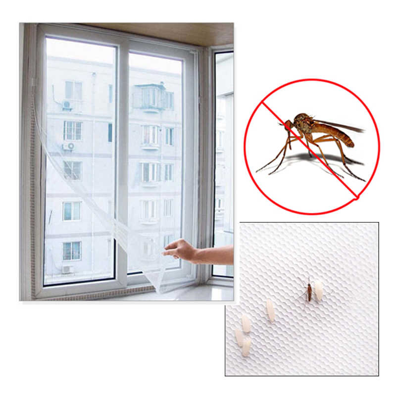 Voar Mosquito Malha Mosquito Janela de Malha Net Tela Cortina Protector Insect Fly Bug Mosquito Janela Tela de Malha Branco 150x130 cm