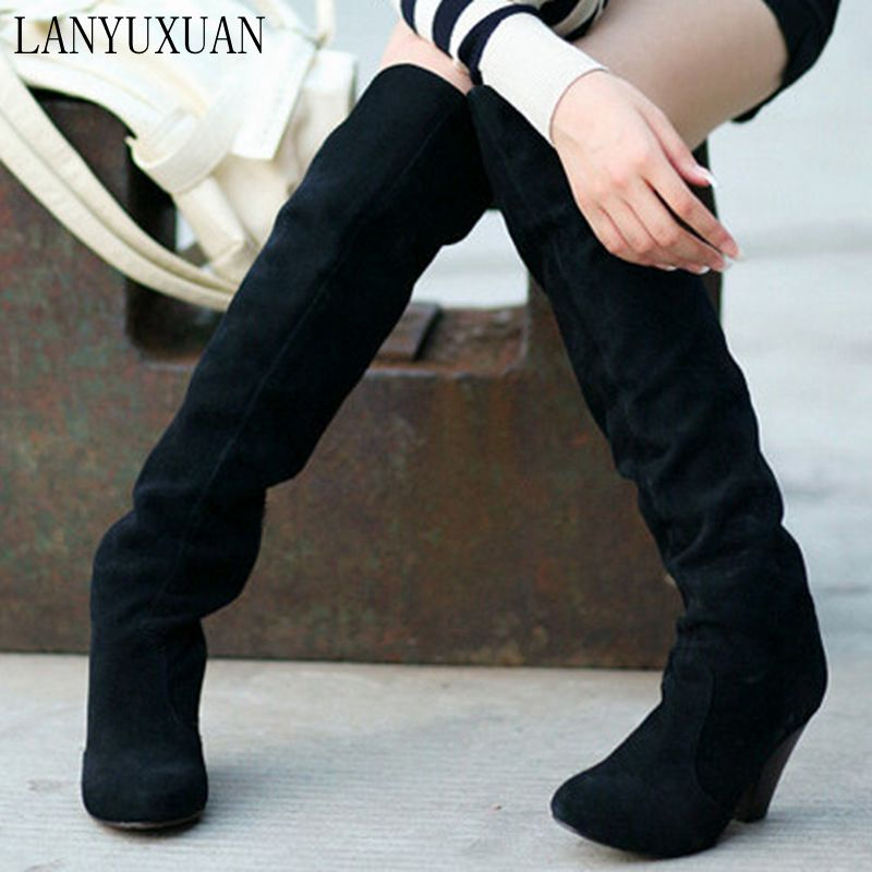 2017 Winter Boots Big Size 34-43 Over The Knee Boots For Women Sexy High Heels Long Winter Shoes Round Toe Platform Knight 818 цены
