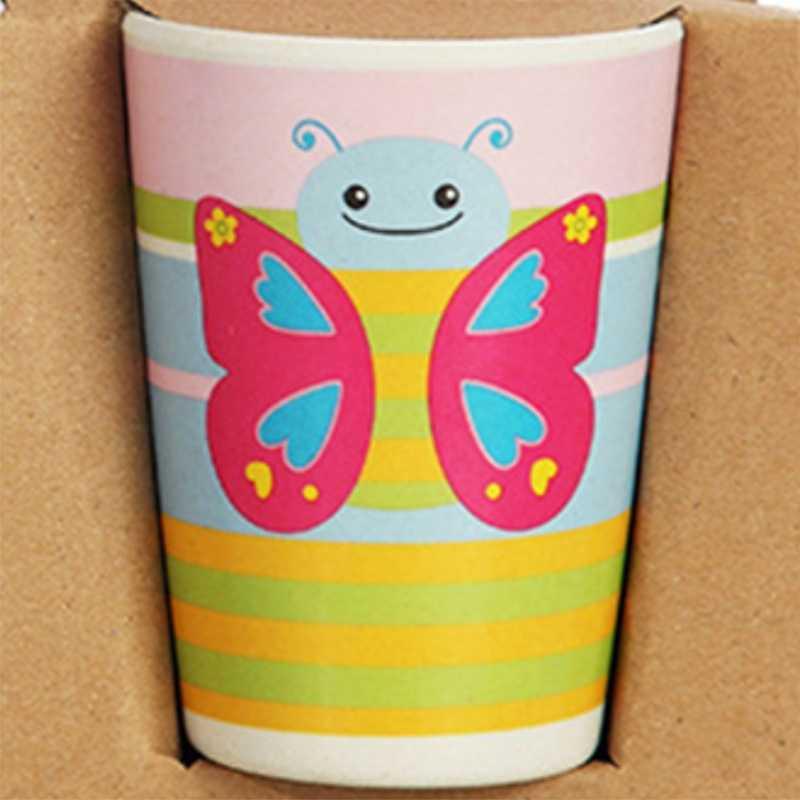 5 peças/set de pequena borboleta animal prato + arco garfo copo bebê utensílios de mesa alimentação conjunto fibra de bambu bebê bonito crianças co