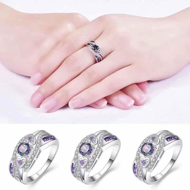 Livraison directe mode femmes 925 bijoux autrichien ovale coeur coupe Design multicolore et violet blanc CZ argent 925 taille de bague 6 7 8 9