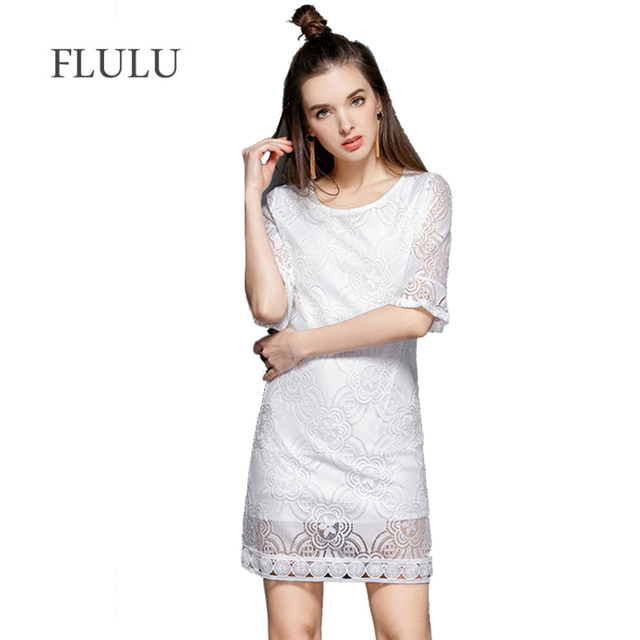 9b48cf50dcab FLULU Summer Dress Women 2018 Elegant Sexy Hollow Out White Black Lace  Dress Female Vintage Slim Short Sleeve Party Dresses 4XL