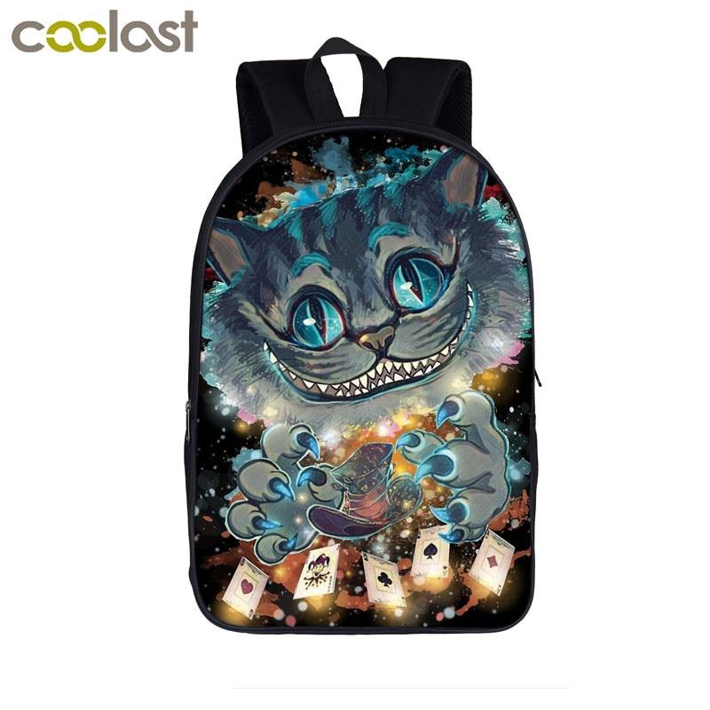 Funny Cat Backpack for Teenage Girls Boys School Bags Stranger Pugs Kids Bag Unicorn Riding t-rex Dinosaur Laptop Bagpack Male