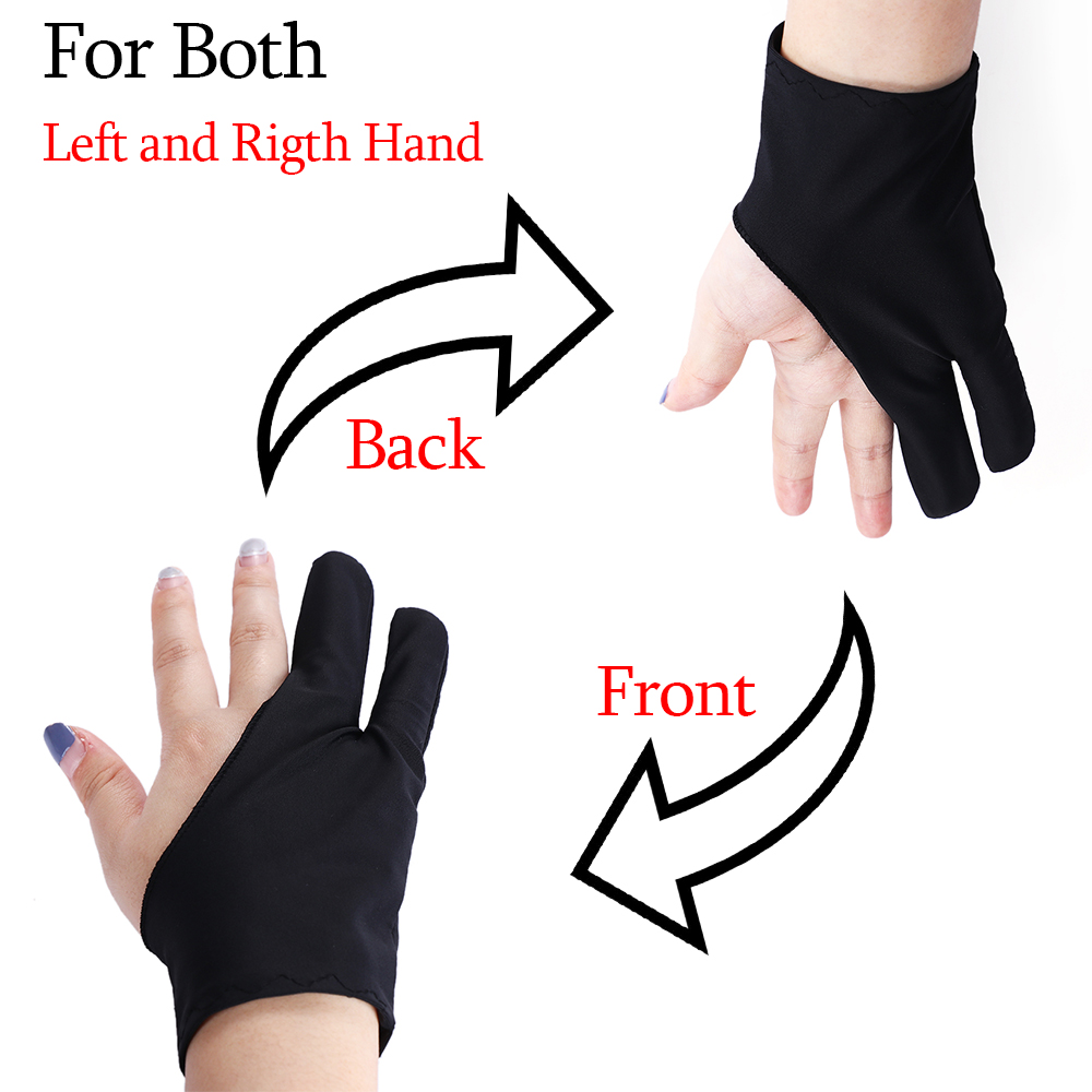 1Pc Black Free Size Artist Drawing Glove For Any Graphics Drawing 2 Finger Anti-Fouling Both For Right And Left Hand