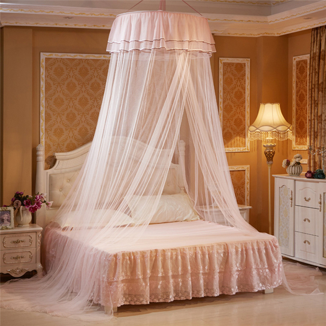 Kids Child Hung Dome Mosquito Net Princess Hanging Round Lace Canopy Bed Netting Comfy for Crib Twin Full Queen Bed