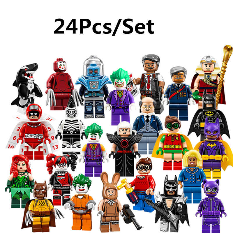 24PC Super Heroes Batman Movie Mini Set Harley Quinn Joker Harley Quinn Robin figure Building Blocks Toys Compatible with Lepin