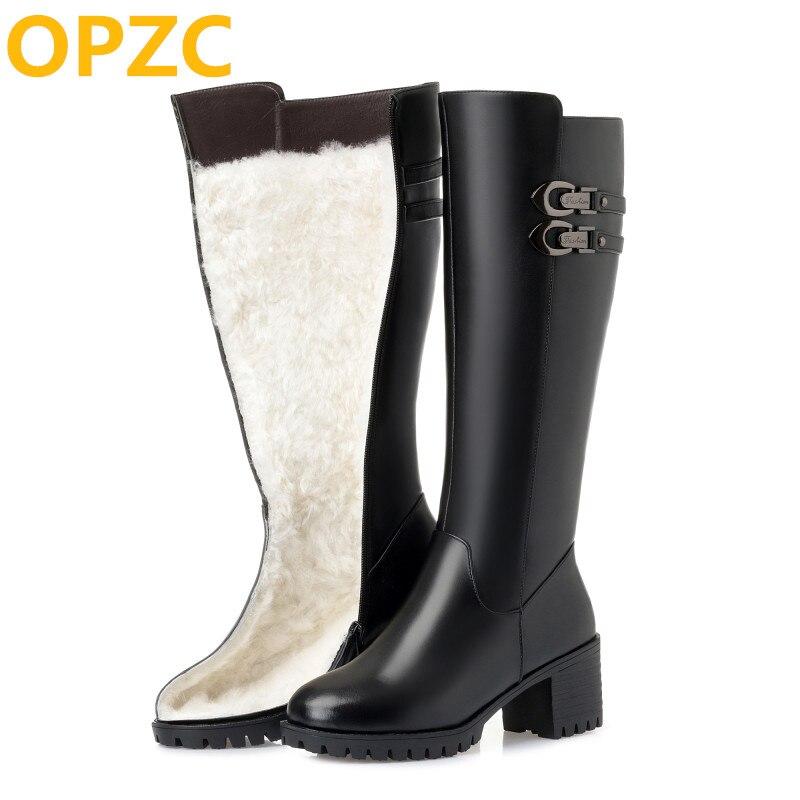 OPZC 2019 nouvelles femmes en cuir véritable chevalier bottes, hiver laine haut talon haut bottes, grande taille 41 42 43 bottes de neige chaudes femmes