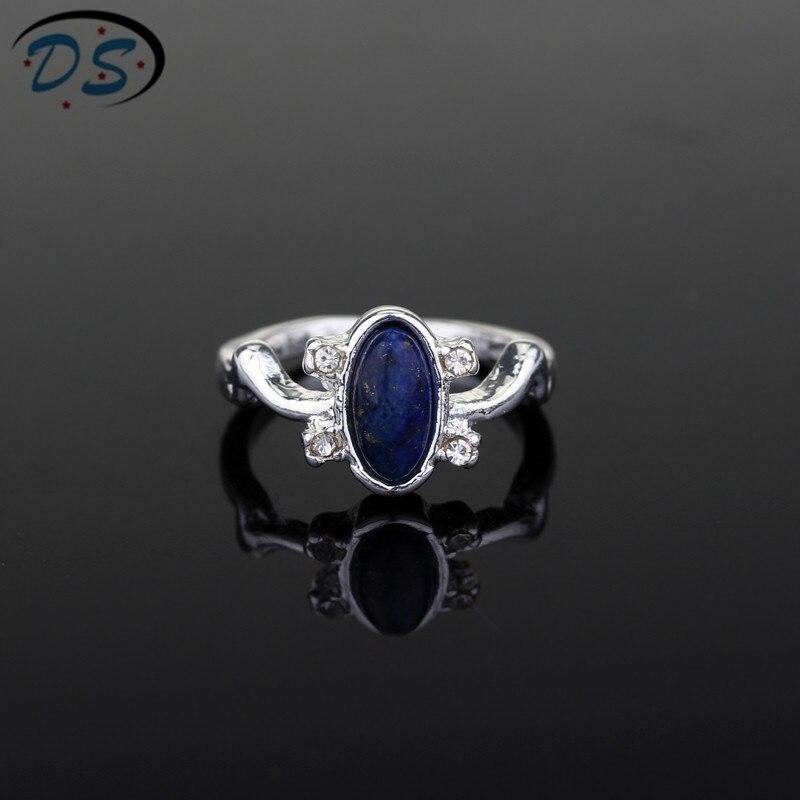 1 pc o vampiro diários anéis elena gilbert luz do dia anéis de cristal do vintage anel com lapis azul moda filmes jóias cosplay