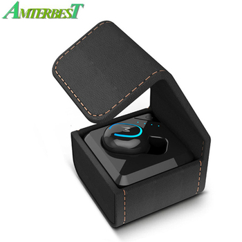 AMTERBEST Mini Wireless Bluetooth Earphone Invisible Single Earbuds Stereo Headphone Hands-free Headset with Charger Box