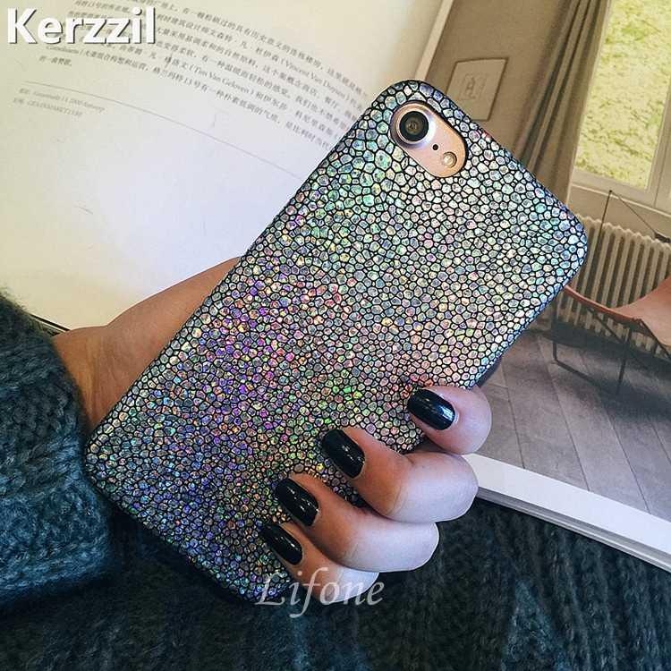 Luxe PU Lederen Telefoon Gevallen Voor iphone 7 6 6s Plus Fashion Shining Snake Schalen Laser Case Cover Voor iphone X 8 Plus zachte Capa