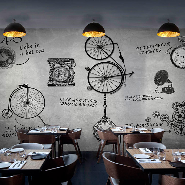 Continental retro custom 3D stereoscopic large mural mechanical timepiece letter Coffee Bar West Restaurant silk cloth mural зимняя шина continental contivikingcontact 6 225 55 r17 101t