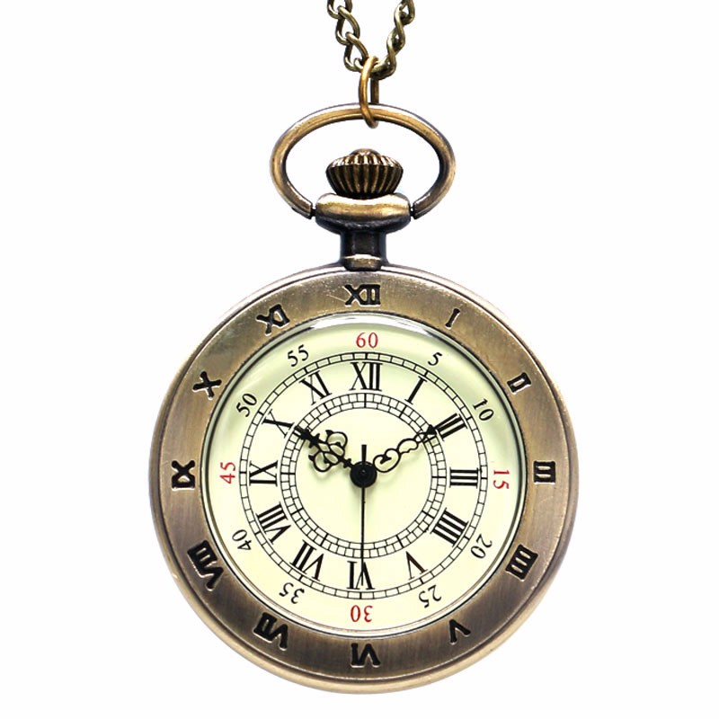 2019 Antique Retro Casual Round Roman Numbers Pendant Necklace Pocket Watch With Chain Gift To Men Women Relogio De Bolso