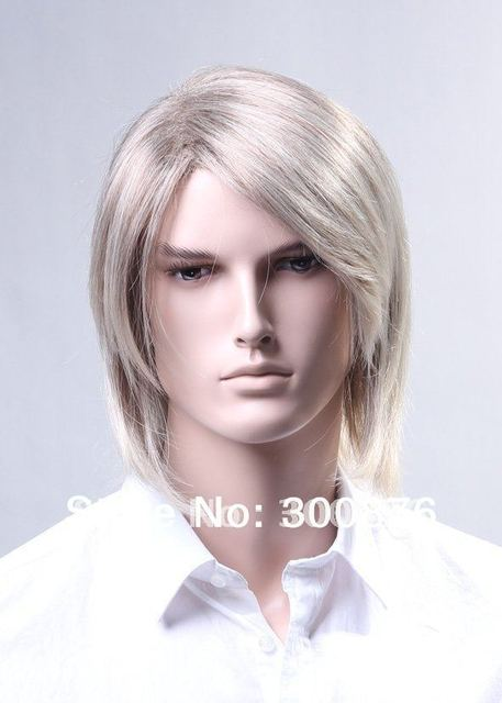 2017 New Fashion Wig Men S Long Hair Silver White With