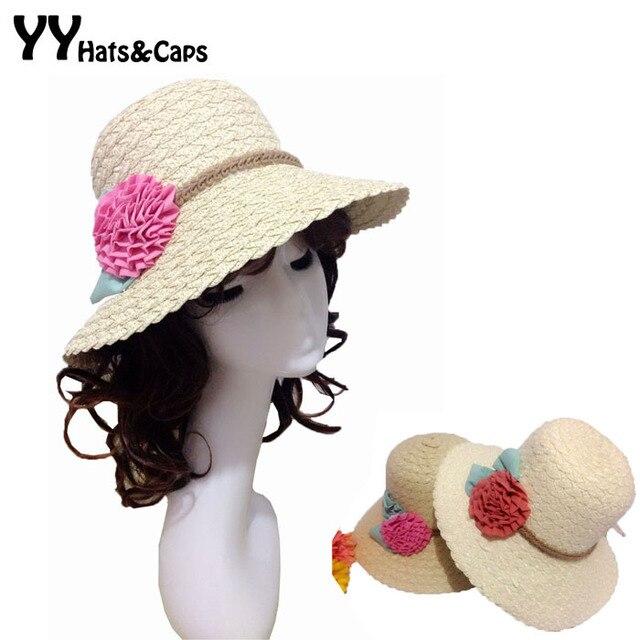 Новое девушка летнее солнце шляпа соломенная шляпа женщина цветочные шляпы флоппи пляж Hat Cappello Chapeus Chapeu де Palha спортивный YY0006