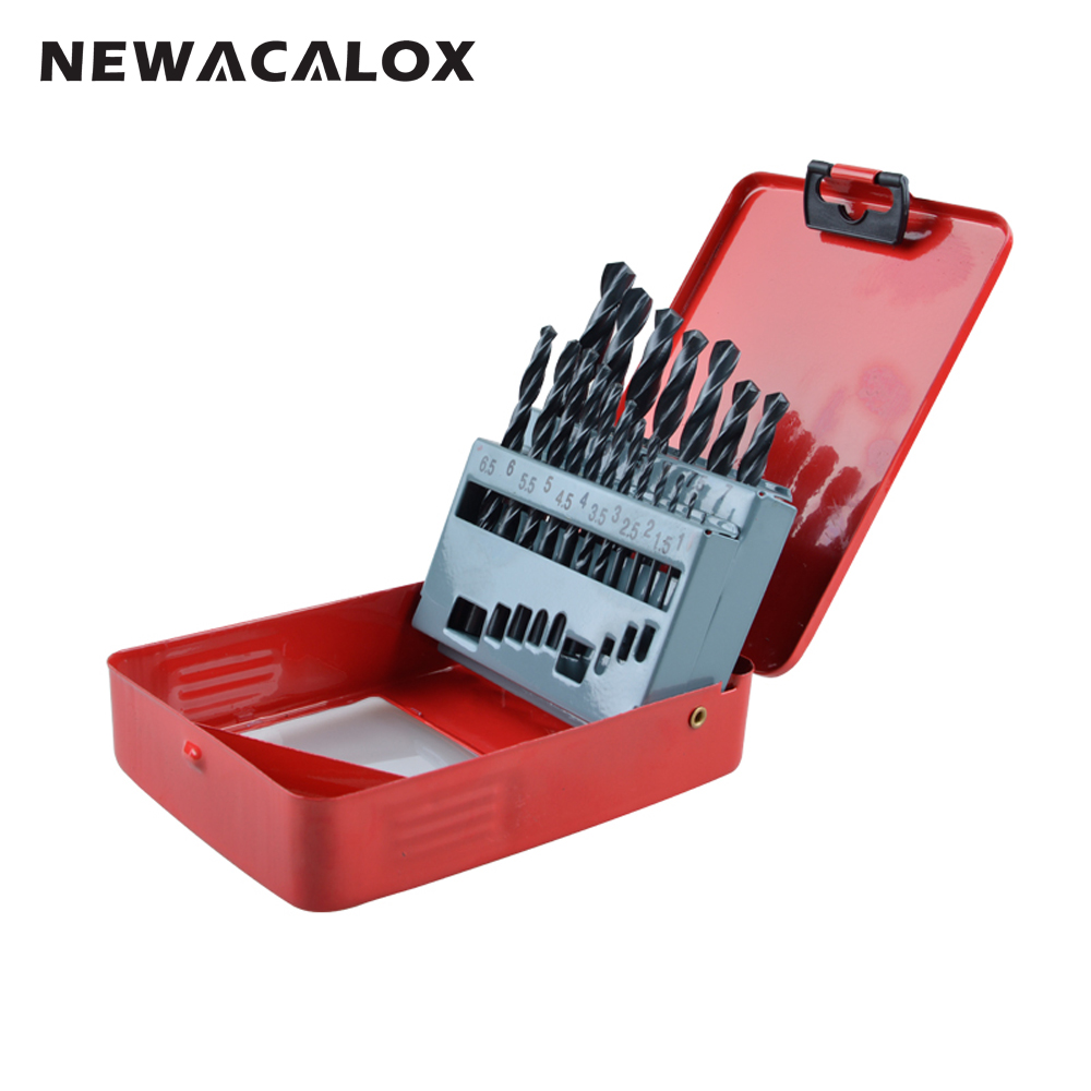 NEWACALOX High Speed Steel HSS Drill Bit Set Round Shank Black Oxide 1-10mm Tungsten Carbide Twist Drill Bits 19pcs/set