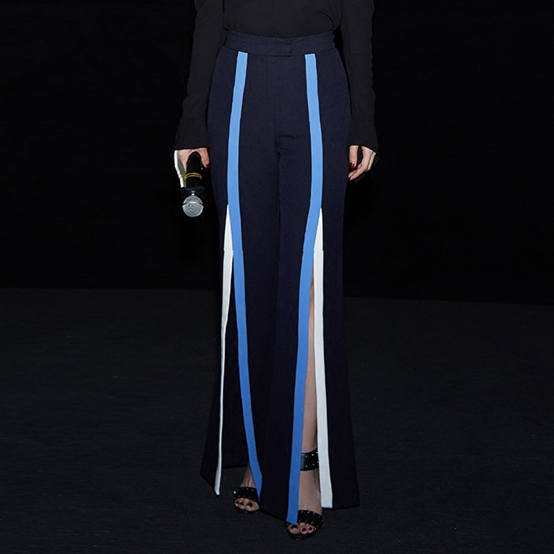 Pantalones Pierna De Lulu Cintura Nuevas 2017 Costura Rayas Distancia Alta Tenedor Ancha Moda Leggings Azul Cuero Las cuerno Mujer Mujeres Micro Urwxn1qfU