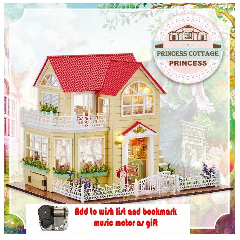 Doll House Miniature DollHouse DIY Dollhouses Furniture Wooden Princess hut Poppenhuis Wood Building Casa De Boneca  A033 a doll s house