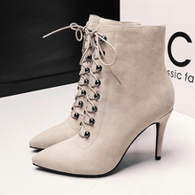Women's Sexy High Heeled Pointed Toe Ankle Boots Rivet Lace-up Elegant Ladies Genuine Leather Short Booties Brand Designer Shoes