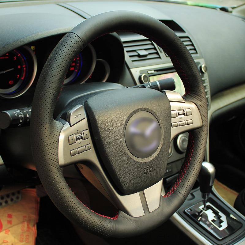 Särav nisu Käsitsi õmmeldud must nahast roolikate vana Mazda 6 - Auto salongi tarvikud - Foto 5