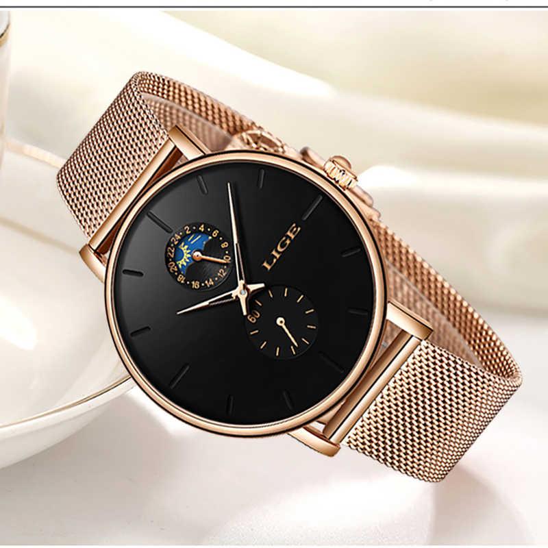 2019 nuevo reloj de marca de lujo LIGE para mujer, reloj de pulsera de cuarzo Simple a prueba de agua, reloj Casual de moda para mujer
