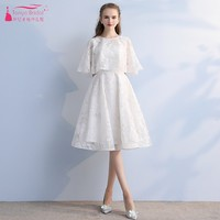 TANYA New Cheap Scoop Sexy Short Homecoming Dresses 2019 White Lace Party Dresses Graduation Dress junior dresses DQG855