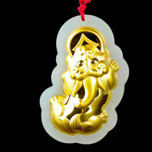 Chinese jade fine jewelry Gold Pendant Hetian pixiu pendant  Men and women couple Lucky Amulet zhuanyun necklace