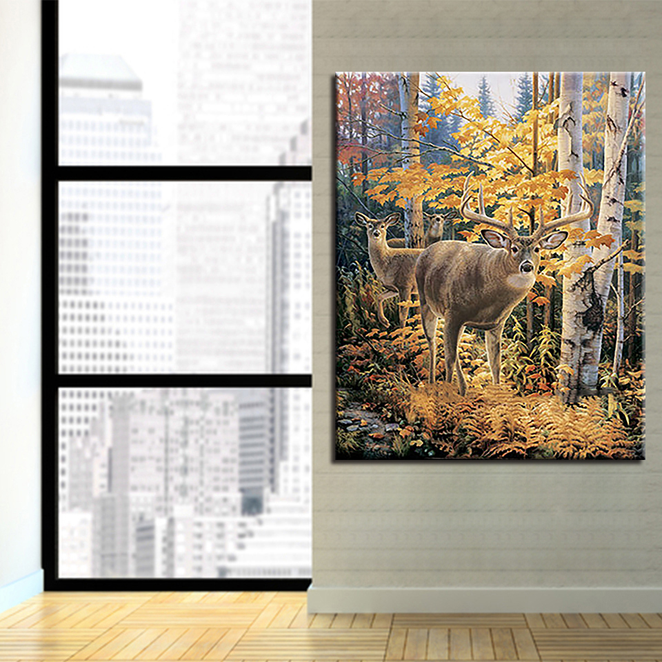 DIY Digital Oil Painting By Numbers Autumn Forest Deers Canvas Pictures For Living Room Acrylic Coloring Elk Drawing Wall Decor in Painting Calligraphy from Home Garden