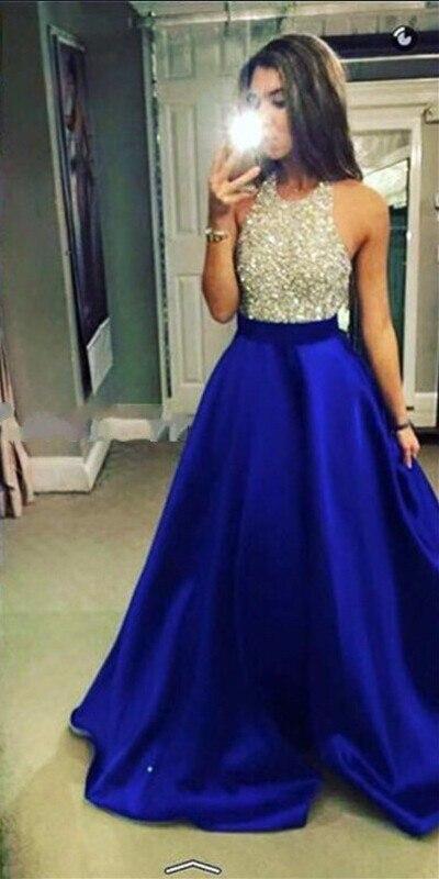 Nel 2016, il nuovo modello sexy blu-blu royal perline collo senza schienale di una sedia di cristallo corsetto dell'abito YU14 DE vestito da partito