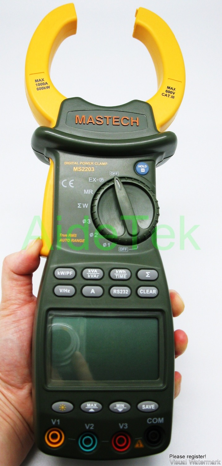MASTECH MS2203 3 phase TRMS clamp Meter power factor correction RS232 V A W VA VAR kWh H