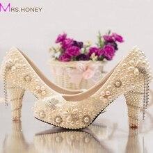 Neue Ankunft Sommer Strass Hochzeit Schuhe Braut Perle Kristall Kleid Schuhe Handwerk Elfenbein High Heel Plattformen Prom Party Schuhe