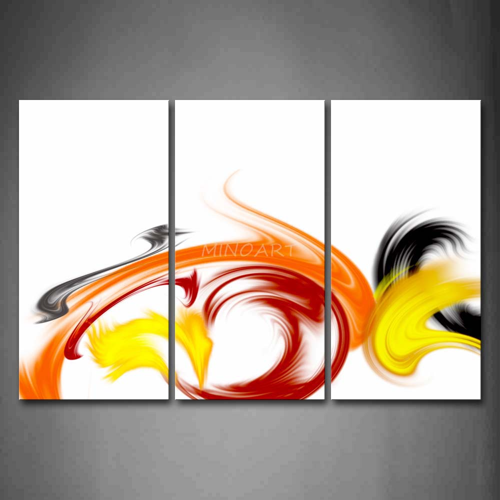 3 Piece Wall Art Painting Swirl Red Yellow Black White