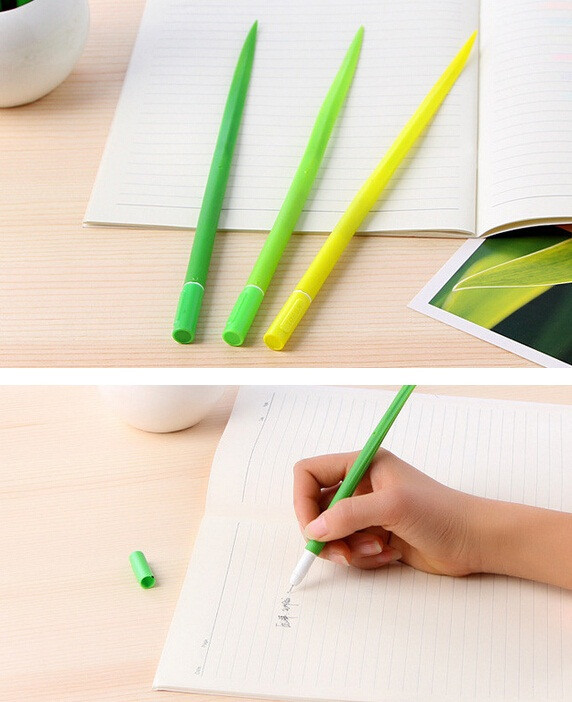 36pcs/lot Cute Tiny green grass Gel pen Blade potting decoration students prize gift office school supplies