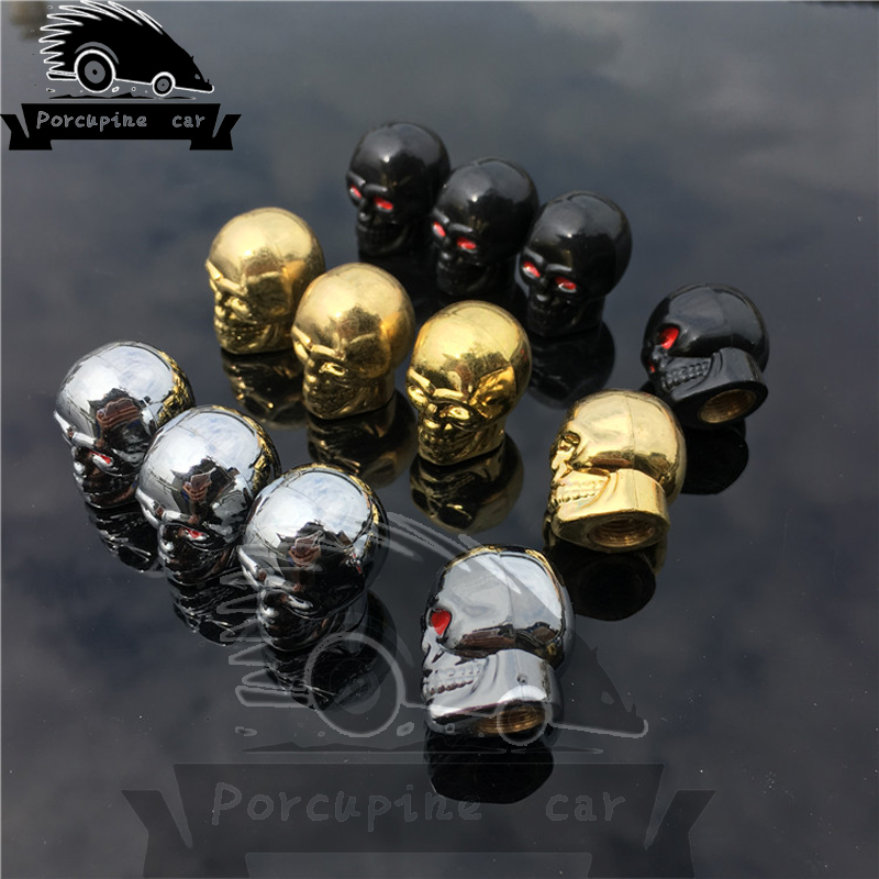 4pcs CHROME SKULL AIR VALVE HEAD CAPS MOTORCYCLE BIKE TIRE AIR COVER CAR TRUCK SUV for BMW Mercedes Chevrolet Ford Honda Toyota ...