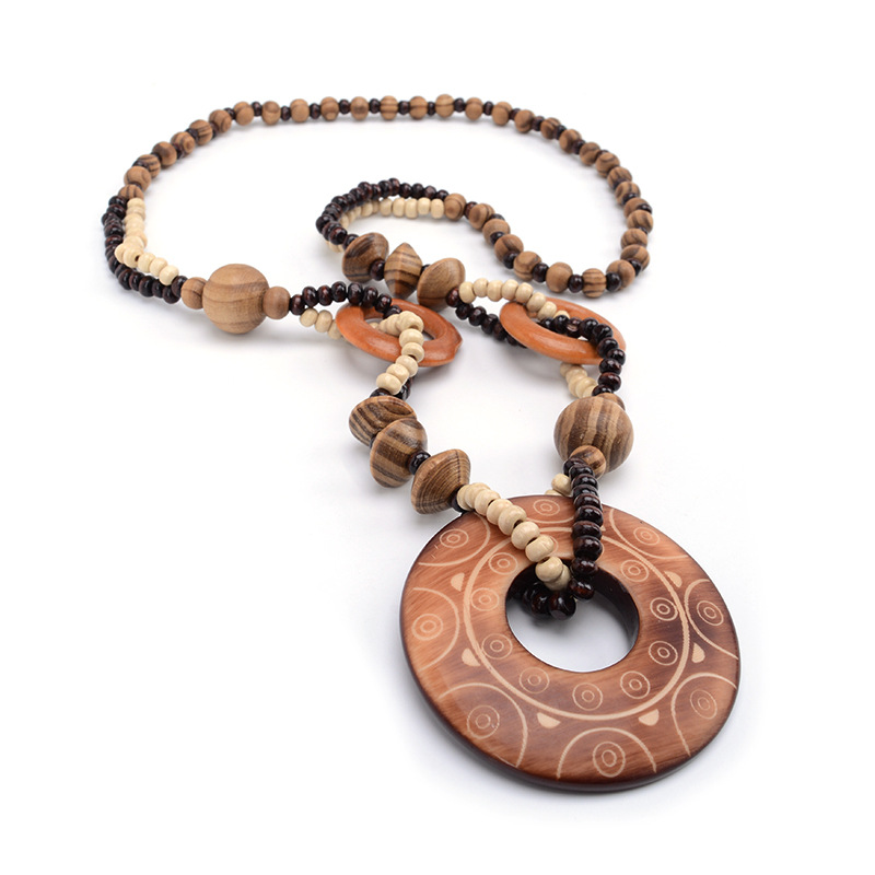 Magic <font><b>Sun</b></font> lines Hand Carved Exotic Hollow Round Woody Beaded Pendant Necklace Fashion <font><b>Jewelry</b></font> for Women Birthday Gift Present image