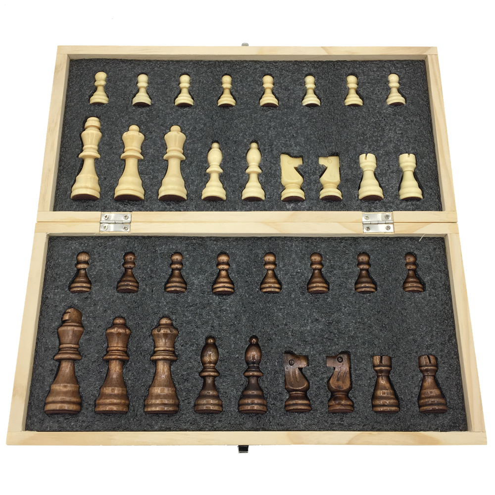 Chess Wooden Folding Chessboard With Magnetic Travel Game Board Size 34 cm x 34 cm Large Tournament Chess Set Kids Gift 2 Queen