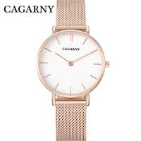 Watch Women Rose Gold Luxury Brand Cagarny Women S Wastches Fashion Quartz Wristwatches Steel Mesh Bracelet