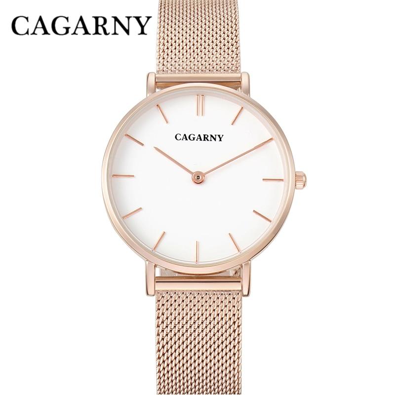 Titta Kvinnor Rose Gold Luxury Brand Cagarny Kvinnors Avfall Fashion Quartz Armbandsur Stål Möss Armband Klocka Montre Femme