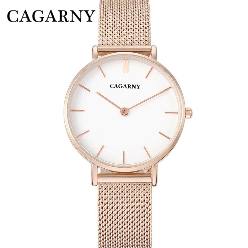 Horloge Dames Rose Goud Luxe Merk Cagarny Women's Wastches Mode Quartz Horloges Staal Mesh Armband Horloge Montre Femme